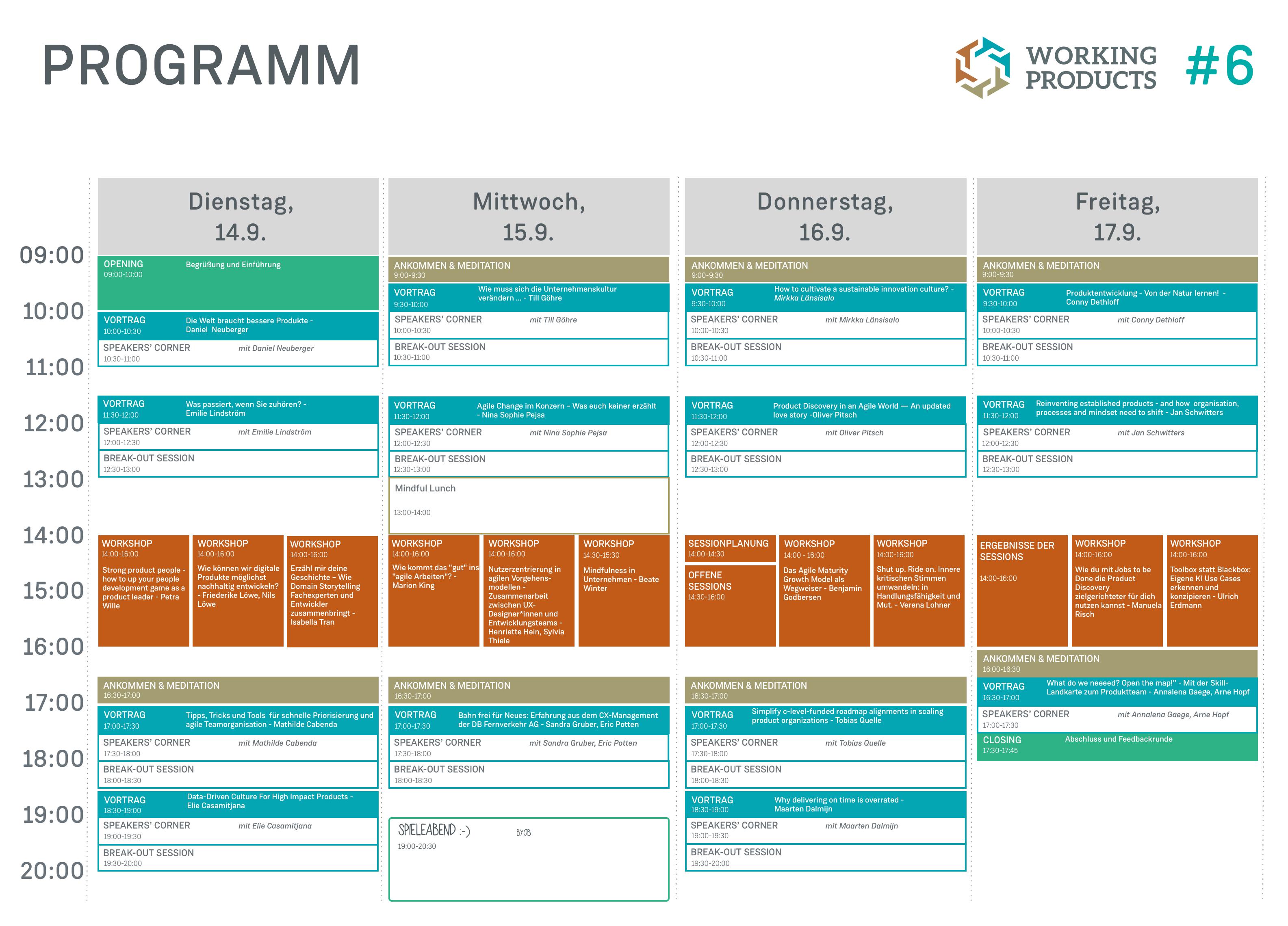 Programm der Working Products Konferenz 2021